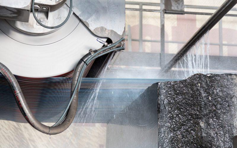 Multiwire Saw Cutting Granite Blocks